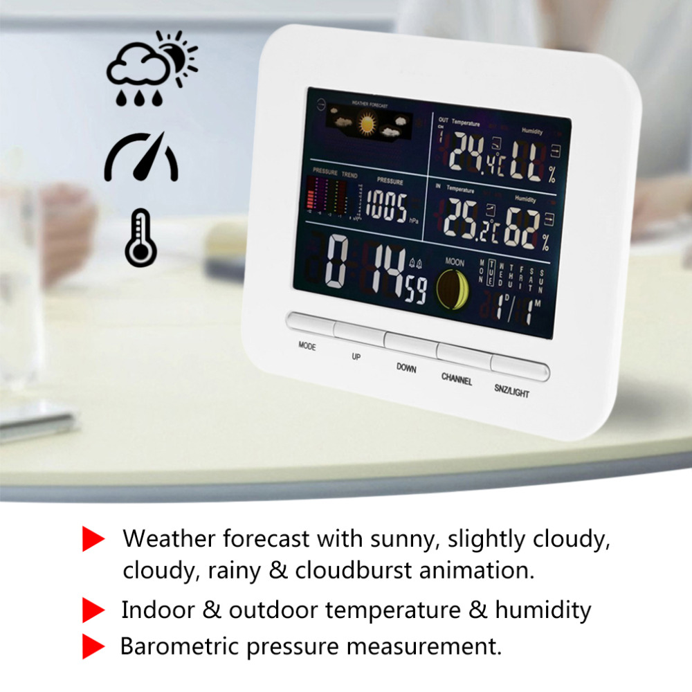 TS-76 Wireless Professional Weather Station Indoor Outdoor Thermometer Humidity Colorful Screen Weather Station Alarm Clock