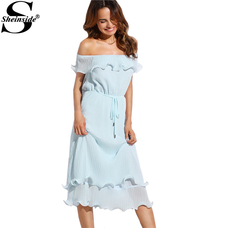 Sheinside Blue Off The Shoulder Ruffle Tie Waist Short Sleeve Knee Length Dress Ladies Summer Shift Dress