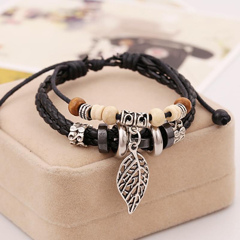 Black Brown Leather Hematite Leather Mens Bracelet