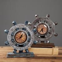 European Style Resin boat Rudder Clock vintage home crafts office living room creative wine cabinet American Desk decoration