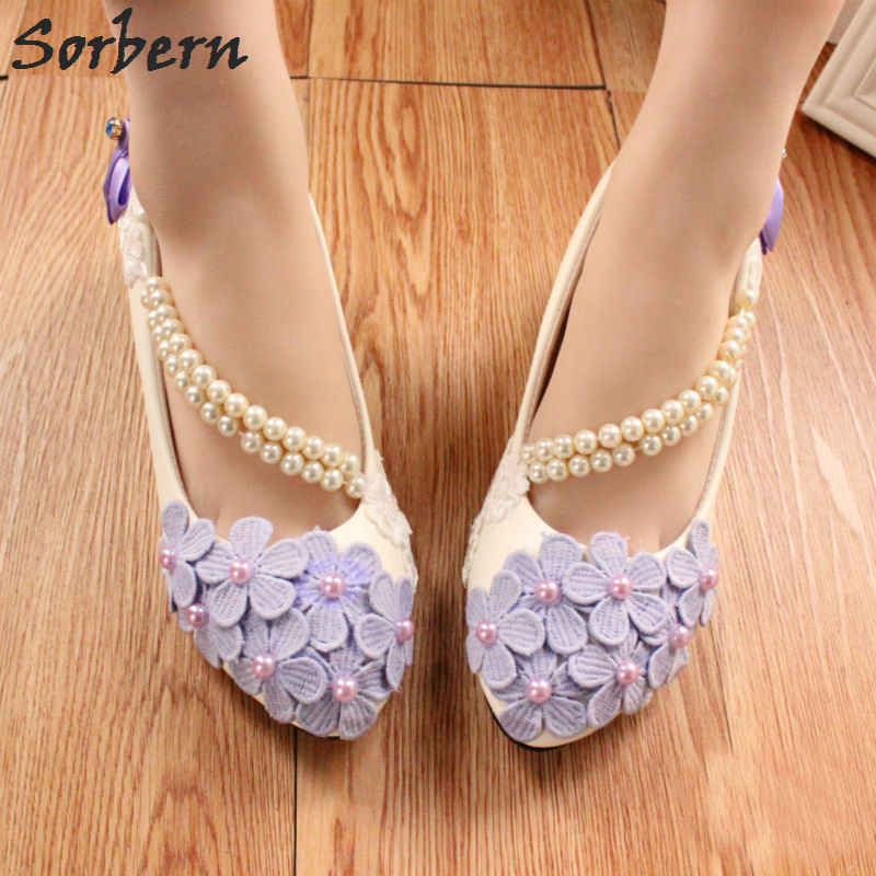 Sorbern Purple Flower Spring Wedding Shoes Beading Straps Pink/White/Lilac Bow Bridal Shoes High Heel Pumps 3/5/8Cm Heeled Shoes bow wedding shoes brides pumps shoes ankle beading pearls straps tg257 comfortable low high heels bridal shoes white with bowtie