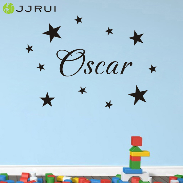 Jjrui personalised name wall art custom stars vinyl sticker kids bedroom childrens home decor wall stickers