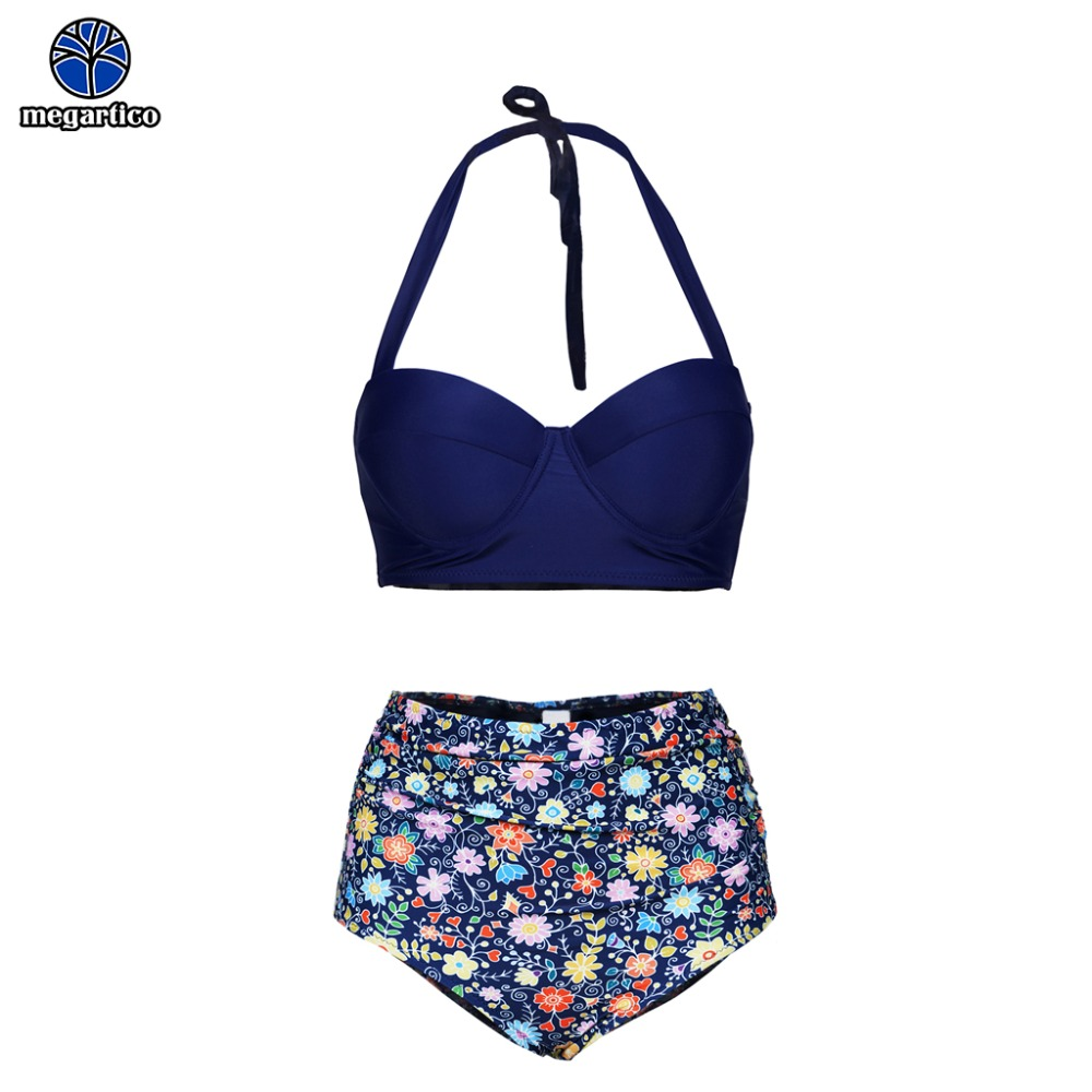 Women Bikini 2019 sexy swimmers female swimsuit high waist floral print halter high neck lace up swimsuit Bathing Suit Push Up 1
