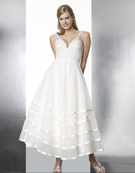free shipping vestido de noiva vintage short features simple V-neck ribbon sillusion neck bridal gown 2018   Bridesmaid     Dresses