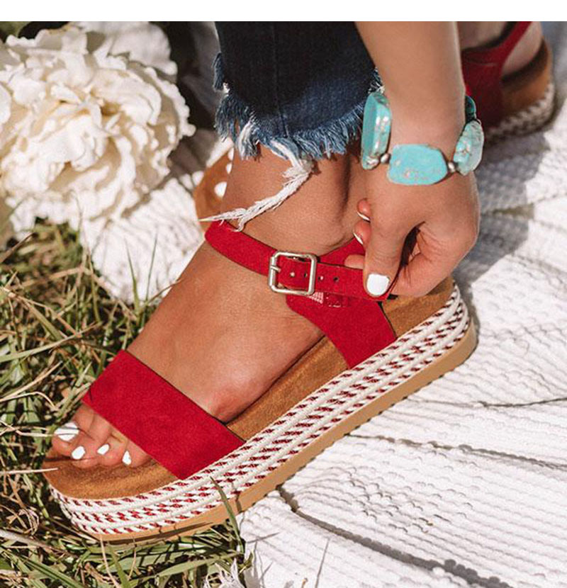 RED Summer Women Shoes Platform Sandals Straw Thick Bottom Peep Toe Beach Sandals