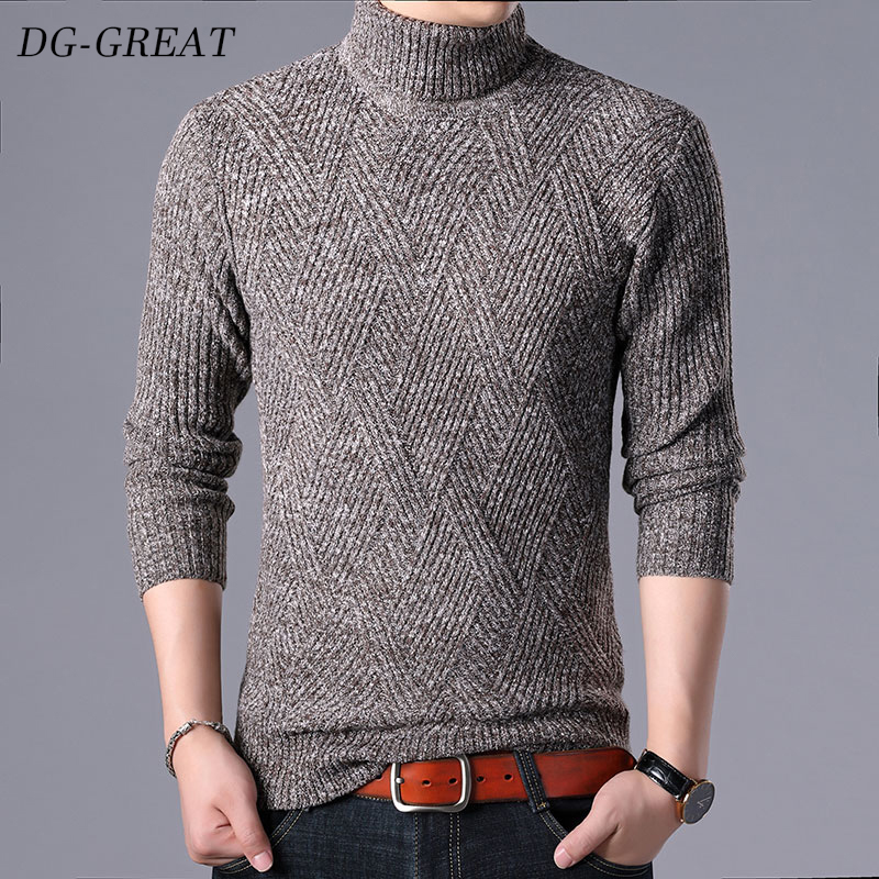 Men's Sweater 2019 Autumn Winter New Fashion Knitwear Casual Men Clothes Sweater 100% Wool Sweater With Long Sleeves With Collar