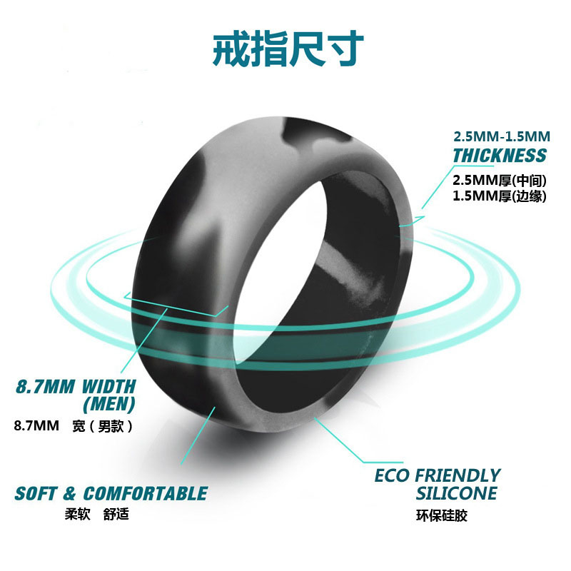 Image 2 - 10pcs Food Grade FDA Silicone Rings 8.7mm Hypoallergenic Flexible  Sports Antibacterial Finger Rings Rubber Wedding Ring For MenRings