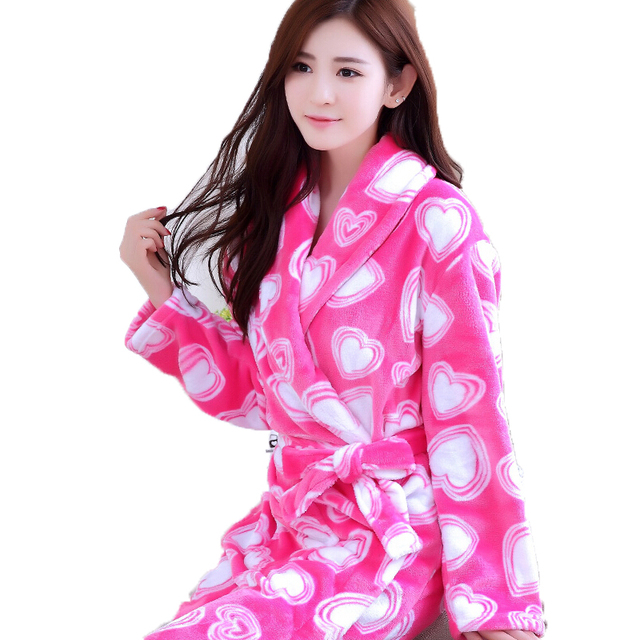 Cotton Bath Robe Female Male Flannel Bathrobes Pajamas Night Gown Robe  Femme Long Sleeve Home Bathrobe Dressing Gowns For Women-in Robes from  Women s ... 575cc3b06