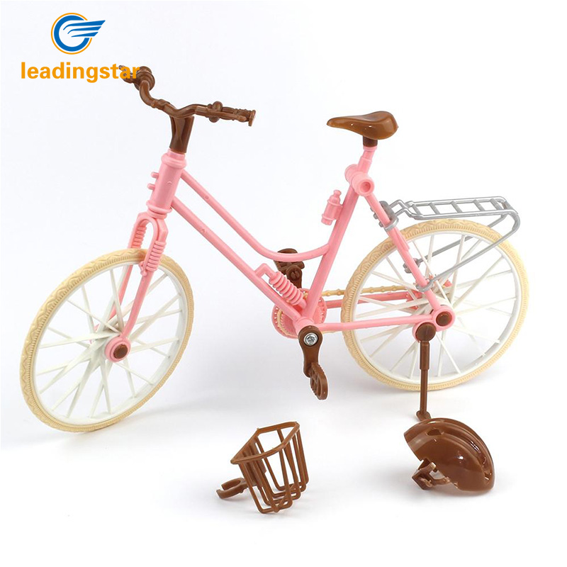 LeadingStar High Quality Beautiful Bicycle Fashion Detachable Pink Bike with Brown Plastic Helmet for Barbie Dolls Accessories