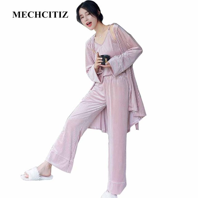 43c41544c5e MECHCITIZ 2019 Autumn Winter Women s Pajamas Set 3 Piece Suit Velvet Stripe  Sleepwear Home Pajamas Bathrobe Trousers Nightwear