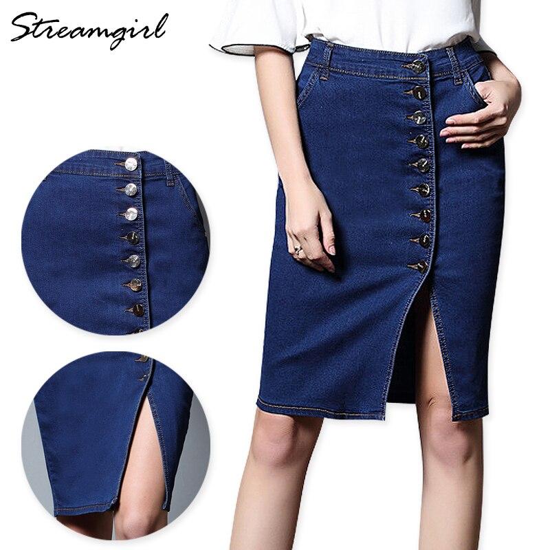 Denim Midi Skirt Plus Size Women Denim Skirts Womens Skirts Ladies Button Pencil Skirt With Buttons High Waist Knee Length Split