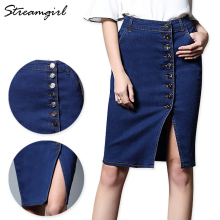 Midi Denim Skirt Plus Size Women Black Denim Skirts Womens Skirts Womens Pencil Skirt With Buttons High Waist Knee Length Split