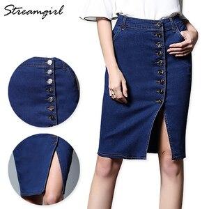 Image 1 - Midi ג ינס חצאית בתוספת גודל נשים שחור ג ינס חצאיות נשים חצאיות נשים של עיפרון חצאית עם כפתורי מותניים גבוהים הברך אורך פיצול