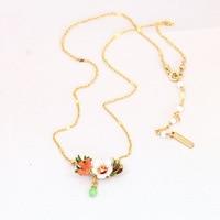 Dyxytwe Романтический эмаль цветы птица Gem Сова Кристалл Цепочки и ожерелья для Для женщин женские вечерние и свадебные украшения