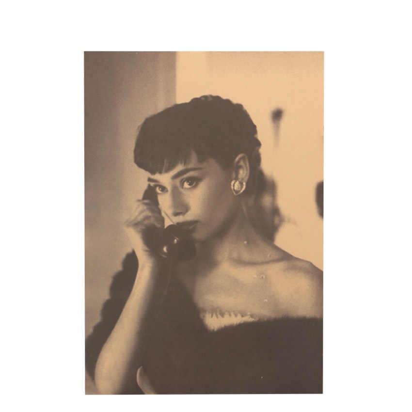 TIE LER Audrey Hepburn Vintage Poster Adornment Wall Stickers Retro Kraft Paper Adornment Movie Posters 51.5X36cm