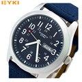 EYKI Kimio 30M Water-pro Japan Quartz  Canvas Military Army Men's Wrist Watch with Calendar Week
