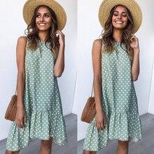 Women Summer Dress Fashion Polka Dot Chiffon Dress Sleeveless Beach Mini Casual Yellow Sun dress 2019 Plus Size Dress Red