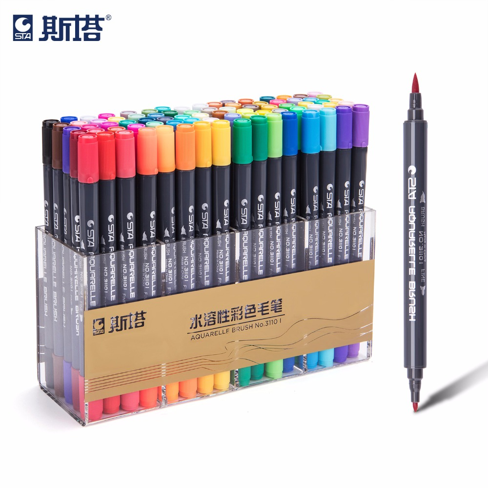 STA 12/24/36/48/72Color Set Water Based Ink Sketch Marker Pen Twin Tip Fine Brush Marker For Graphic Drawing Comic Art Supplies