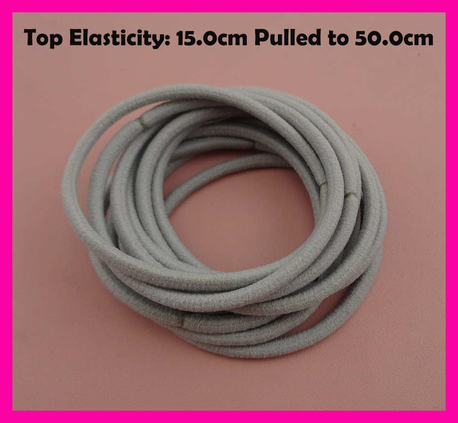 50PCS 3mm Top Elasticity Silver Gray Seamless Elastic Ponytail Holders Hair Bands,Grey Elastic Hair Ties,circle length 15.0cm