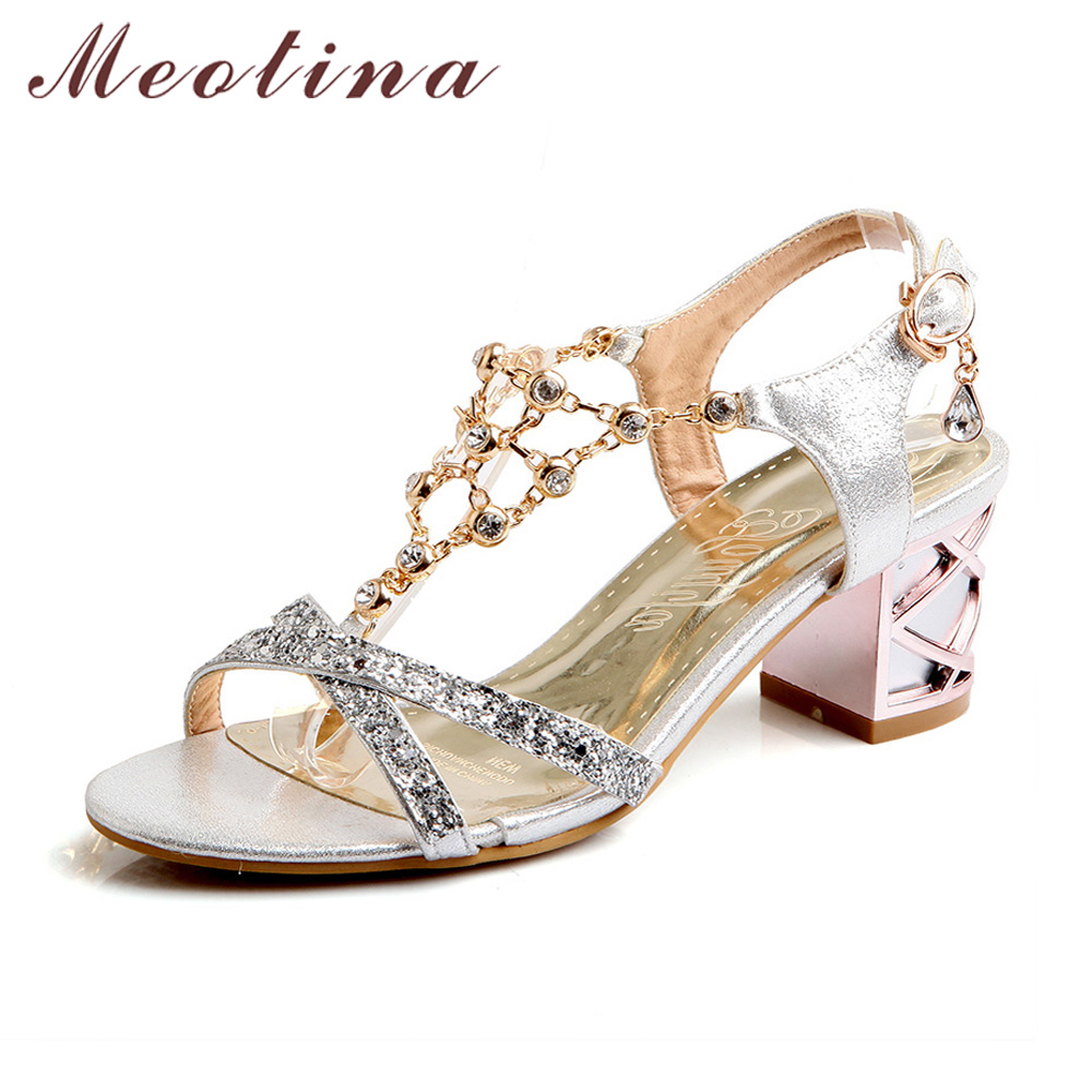 Meotina Party Women Shoes Fashion Crystal Ladies Sandals Summer Open Toe T-Strap Party Thick Medium Heels Rhinestone Gold Blue