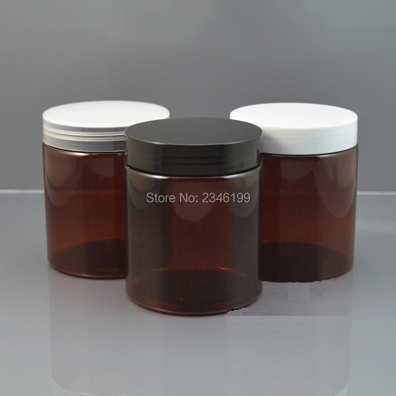 250G Plastic Jar Dark Brown Color Plastic Pot with Plastic Lid, Cosmetic Cream Packing Container PET Material. 10 pcs/Lot 250 toasted brown
