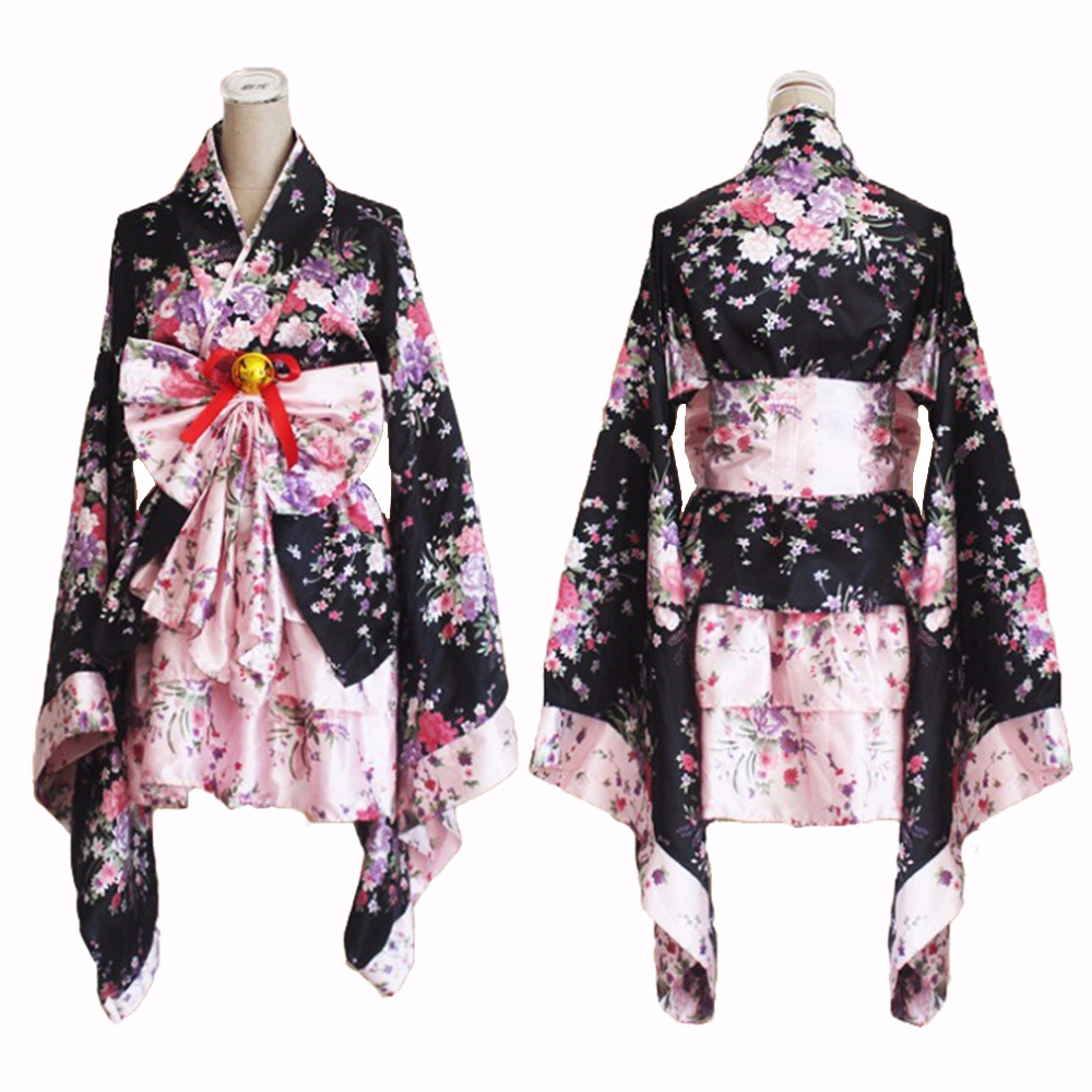 Japanese Kimono Sakura Printed Lolita Pink Short Sexy Layered Skirt  Maid Cosplay Costume Halloween Fancy Dress For Women