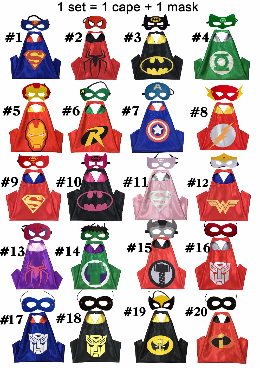 100 Kids Superhero Capes - Double sides Satin Fabric Super hero cape mask Children birthday party Gifts cosplay Costume Supplies