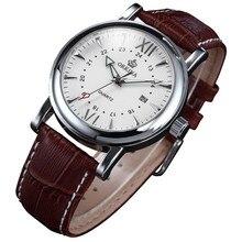 Mg. Orkina relógio de pulso, relógio japonês de movimento miyota, tom de prata, data, quartzo, pulseira de couro marrom, esportivo