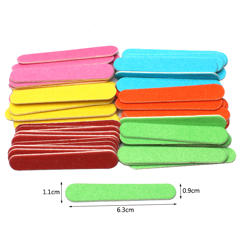 100pcs Double-sided Wooden Nail Files Disposable Mini Nail File Portable Pedicure Buffer 180 /240 Grit Mix Color Manicure Tools