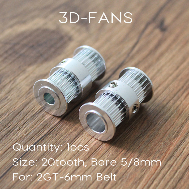 1Pcs Ultimaker 2 DIY 2GT GT2 Timing Driving Pulley 20 Tooth 20teeth Bore 5mm 8mm Double Side Gear For 6mm Belt For 3D Printer
