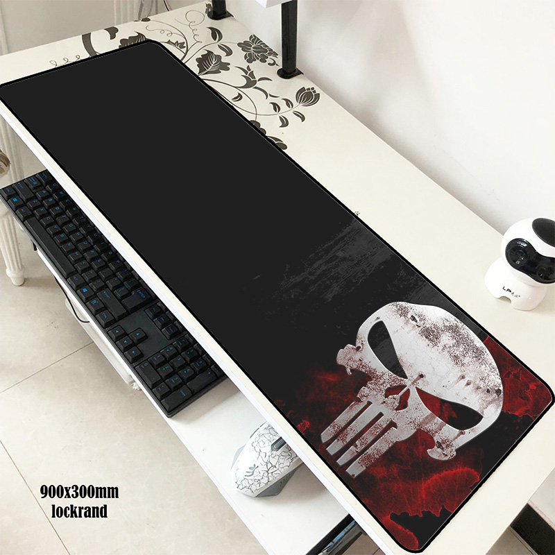 Punisher Skull Pad Mouse Computer Mass Pattern Gamer Mouse Pad 900x300x2mm Padmouse Popular Mousepad Ergonomic Gadget Office Mat