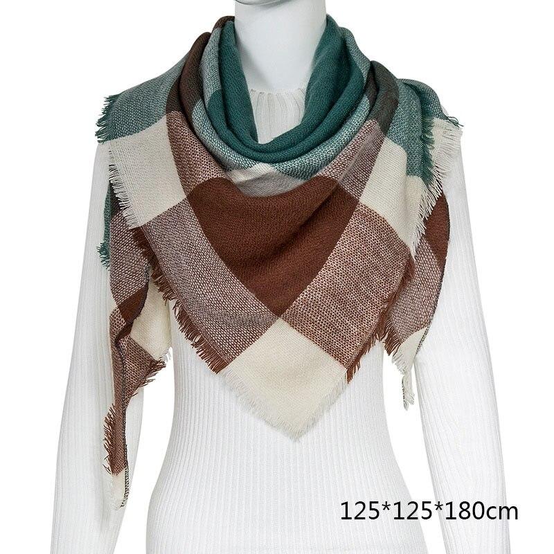 Горячая Распродажа, Модный зимний шарф, Женские повседневные шарфы, Дамское Клетчатое одеяло, кашемировый треугольный шарф,, Прямая поставка - Цвет: B6