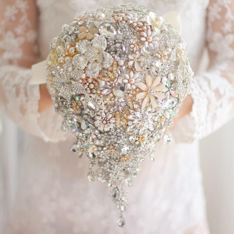Brautsträuße Braut Mit Blume Rosa Hochzeit Dekoration High-end-custom Wasser Tropfen Braut Hochzeit Simulation Bouquet Hochzeit Zubehör