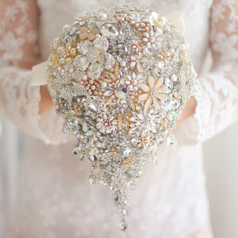 Champagne gold Wedding bridal brooches bouquet, Water droplets bride's bouquet, Pearl crystal teardrop brooch bouquet decor
