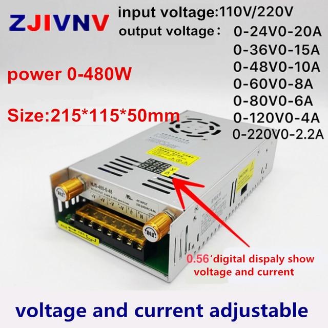 480W digital display switching power supply Adjustable voltage Current limit 0-24V 36V 48V 60v 80V 120v 220v, 24v 20A, 48V 10a