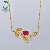 Biżuteria 14kt Żółte Złoto Naturalne Ruby 0.51ct Caimao Z Perłą i Zaręczynowe Diamond Chain Breloczek