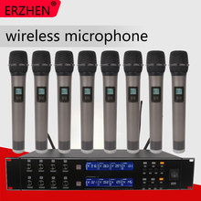 ERZHEN U9200T UHF 8 Handheld Wireless Microphone Dynamic Capsule Family Party Balanced+Unbalanced Output Wireless Microphone+KTV все цены