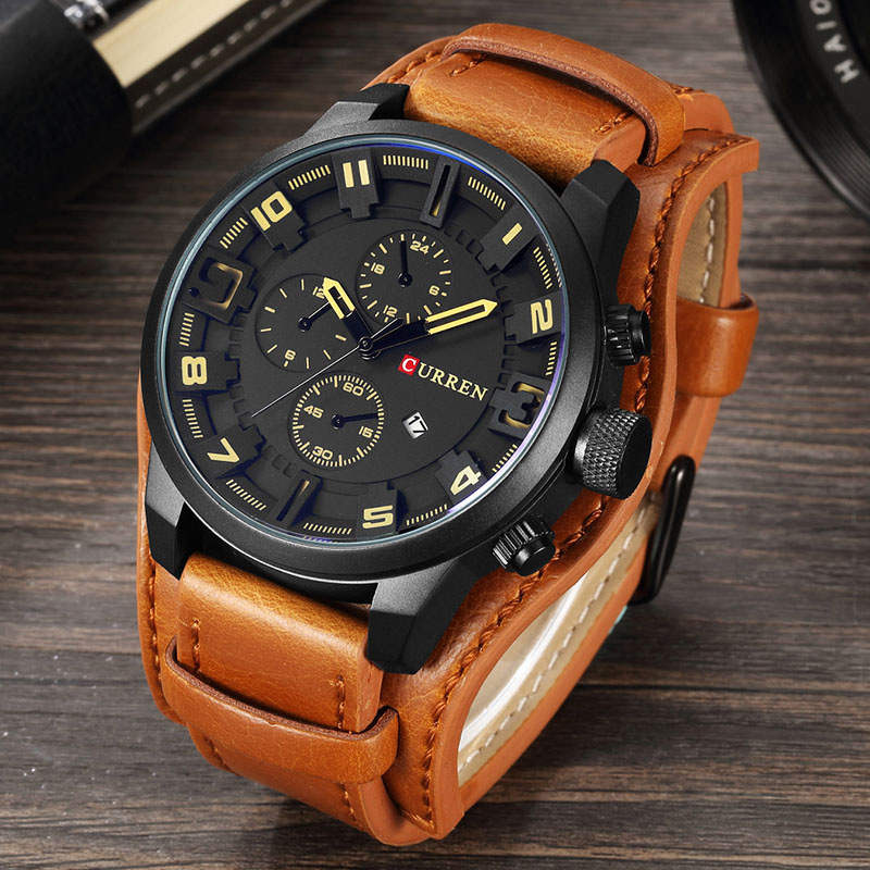 CURREN Men Military font b Sport b font Quartz Watches Mens Brand Luxury Leather Waterproof Male