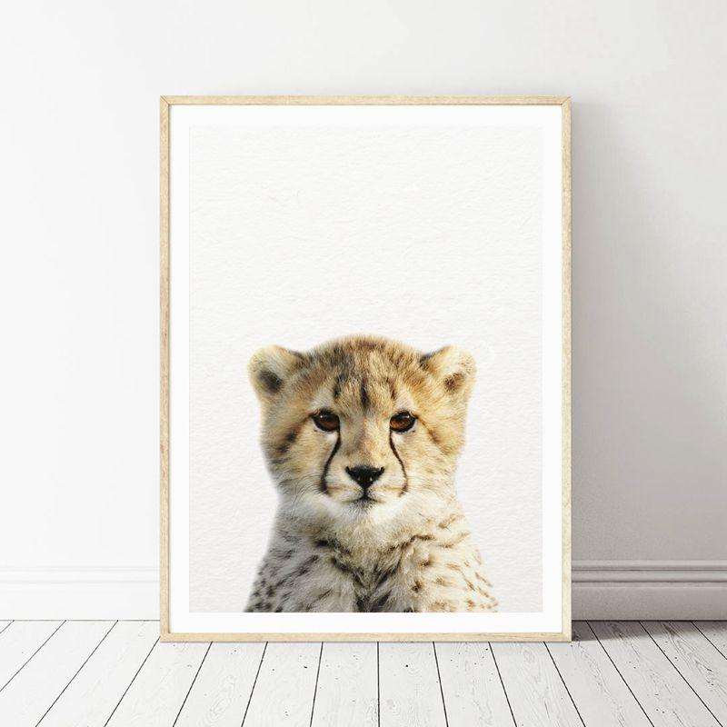Lion Zebra Elephant Giraffe Baby Animals Art Print Poster