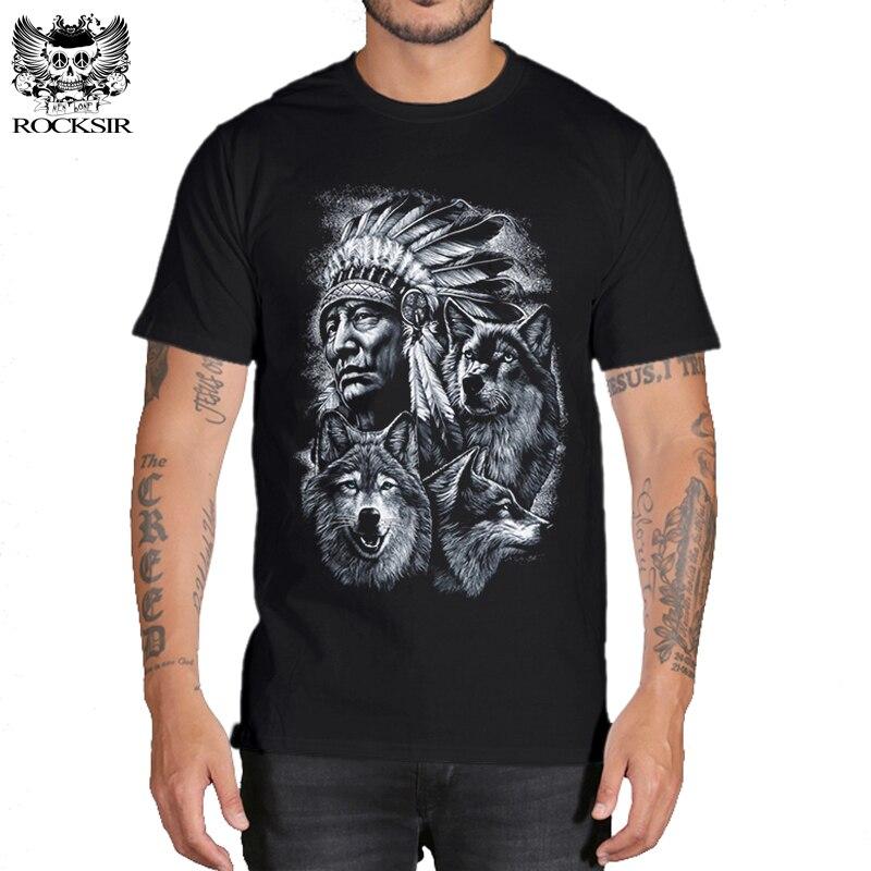 Rocksir lobo 3d t camisa dos homens Da Marca 3D Índios Impressão lobo t camisas de Algodão Dos Homens lobos t-shirt do Homem Ocasional Camisetas Topos Dos Homens