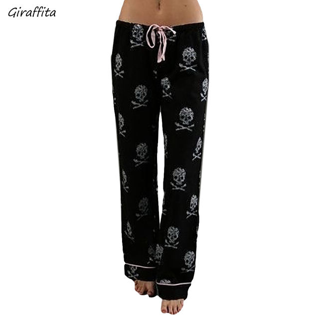 2d77126a11f Fashion Women Pants Casual Low Waist Flare Wide Leg Long Pants Palazzo  Trousers Skull Printed Pajama Pants At Home