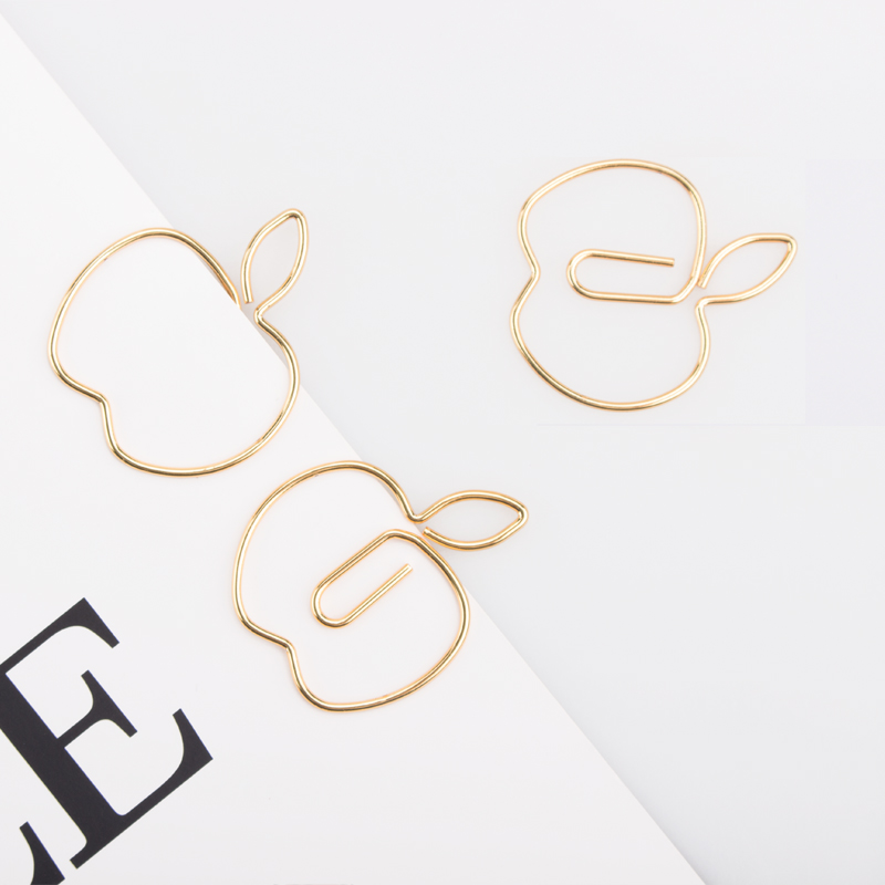 Gold Apple Paper Clips Creative Shaping Pin Special Shaped Paper Clip Metal Customization Paperclips Gold Paper Clips Decorative