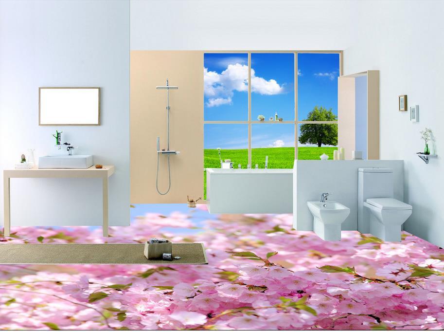 3d floor painting wallpaper Pink flowers sunshine bathroom floor pvc self-adhesive wallpaper 3d flooring 3d ручка feizerg f001 pink fpi001