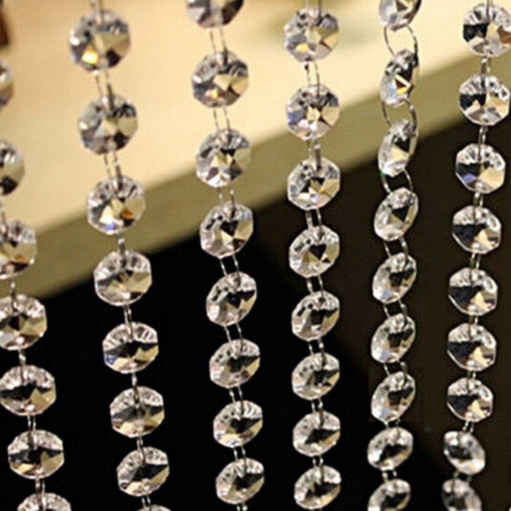 10M (33FT) Acrílico Cristal Contas Octogonais Pingente Acrílico Bead Garland Candelabro Pendurado Para O Partido Decoração Do Casamento