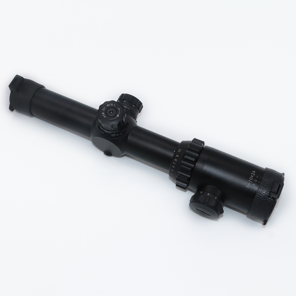 High zoom ratio rifle scope 1 10x24 wide field long eye relief high resolution hunting illuminate mildot tactical riflescope
