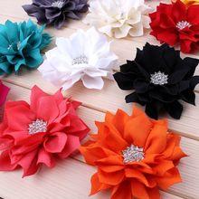 """120 pçs/lote 3.5 """"13 cores artificial folha de lótus flores com strass botão para acessórios do cabelo tecido flores para headbands"""