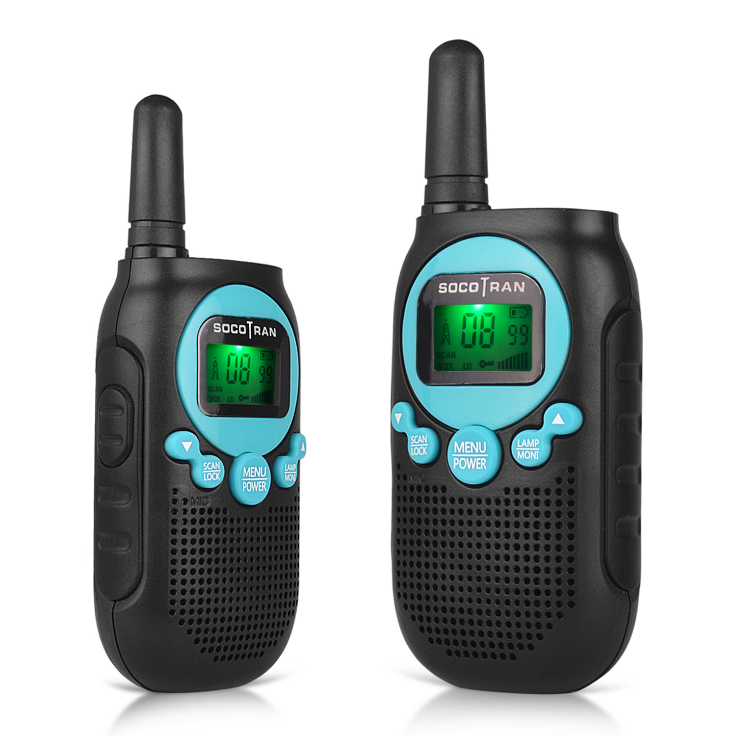 Rechargeable Walkie Talkies/Long Range Two Way Radio for Adult UHF 400-470Mhz 2 Way Radio 16 Channel FRS LED Display Scan 2 Pack VOX