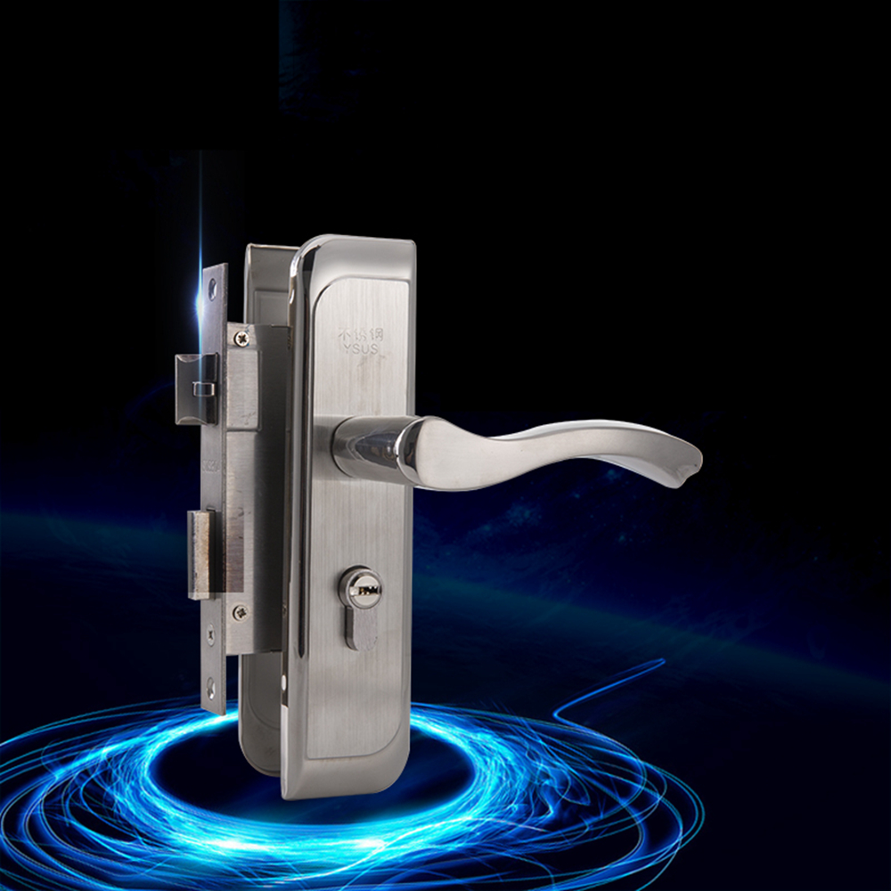 High Strength 304 Stainless Steel Interior Door Lock 50Size Anti Insert Card Living Room Door Handle Lock 304 stainless steel door suction contact free touch wall toilet room bedroom anti collision magnet