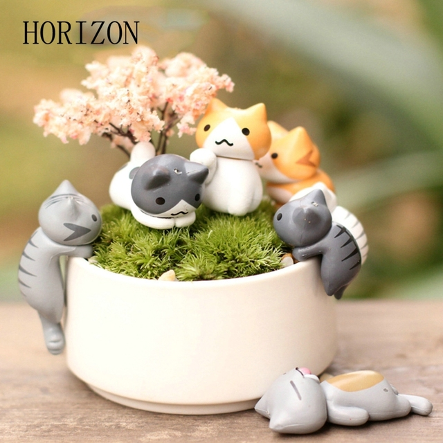 Lovely 6pcs/set Cartoon Lucky Cat Micro Landscape Kitten Miniature Craft Home Garden Bonsai Decorations Miniatures Gift 1