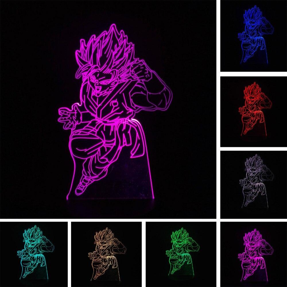 Anime Dragon Ball Z Figure Fils Goku Super Saiyan 3D Coloré LED Lumière de Nuit Lampe de Table Creative Garçons Enfant De Noël Cadeaux D'anniversaire